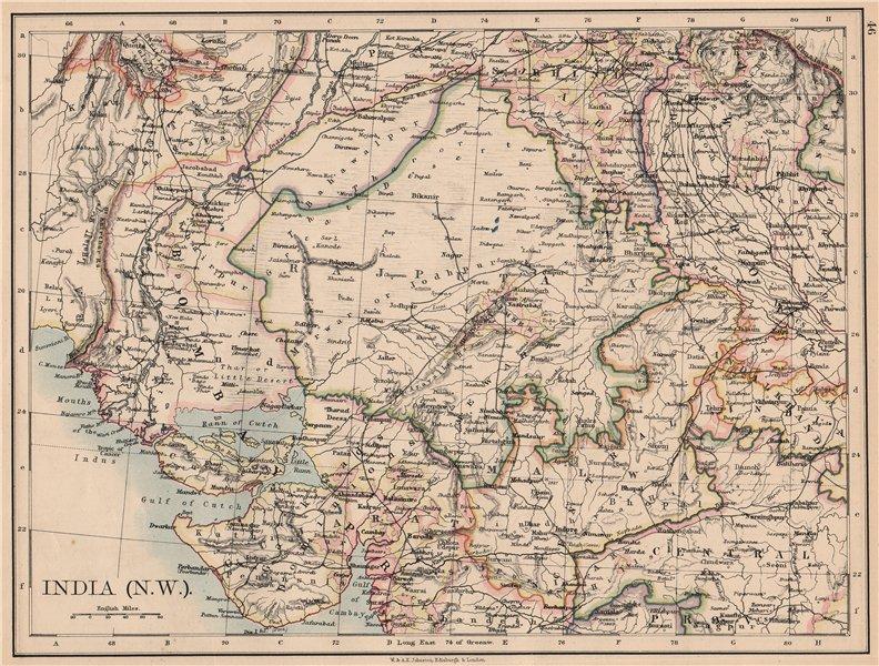 Associate Product BRITISH INDIA NW. Rajputana (Rajasthan) Sindh Gujarat Malwa. JOHNSTON 1897 map