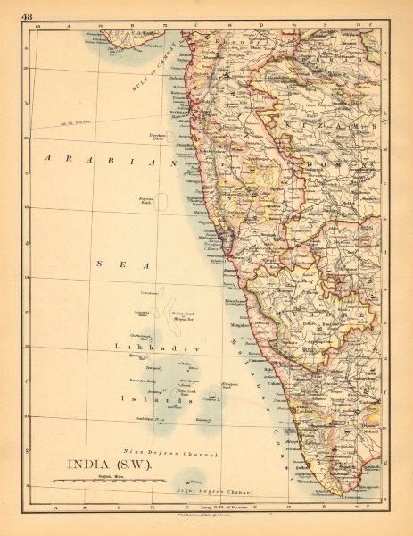 MUMBAI .British India.Maharashtra.railways.JOHNSTON 1906 old map BOMBAY SOUTH