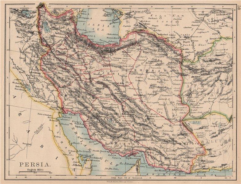 PERSIA. Showing provinces. Iran. Persian Gulf. Bushire. JOHNSTON 1897 old map