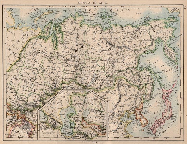 Associate Product RUSSIA IN ASIA. Siberia. Central Asia. Caspian Sea Irkutsk. JOHNSTON  1897 map