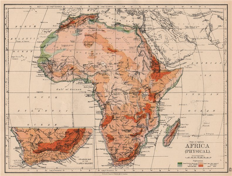 Associate Product AFRICA PHYSICAL. Relief ocean depths rivers. JOHNSTON 1897 old antique map