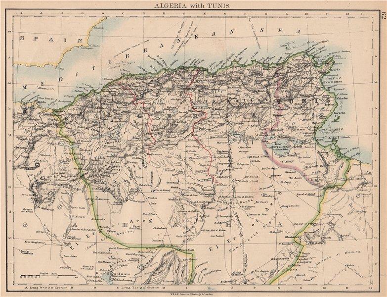 Associate Product ALGERIA & TUNIS. Maghreb Tunisia. Provinces Telegraph cables.JOHNSTON 1897 map