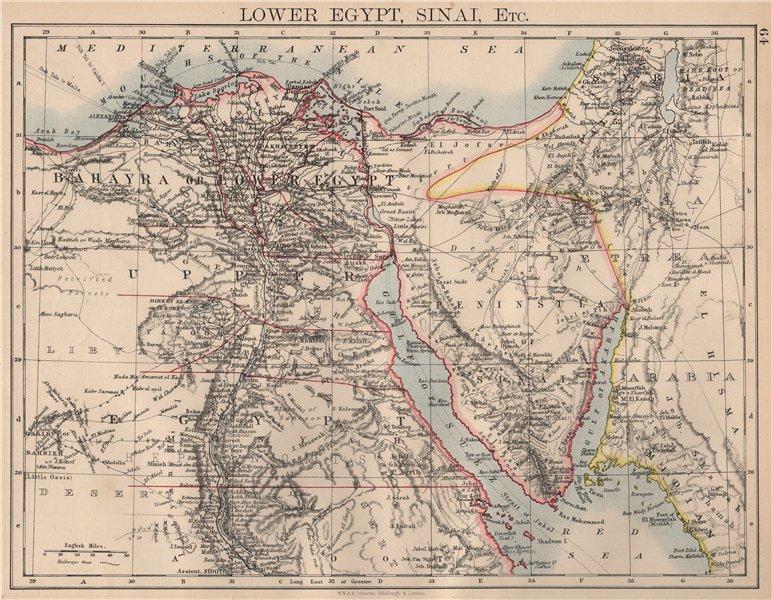 Associate Product LOWER EGYPT & SINAI. Provinces. Nile valley/delta. Railways. JOHNSTON 1897 map