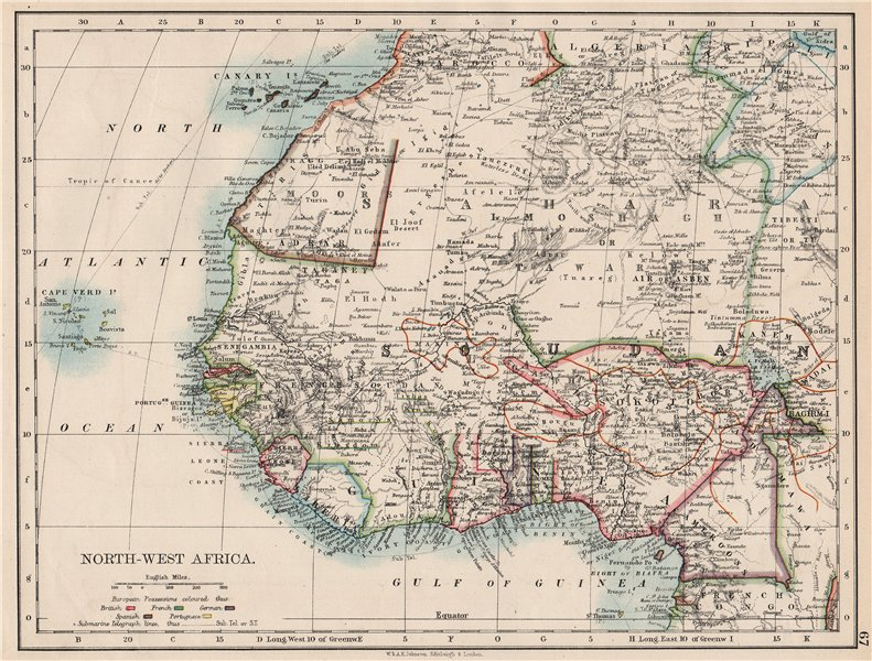 Associate Product COLONIAL WEST AFRICA. Tribal areas Caravan routes Sokoto Masina 1897 old map