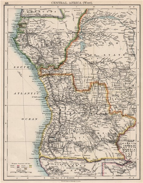 Associate Product COLONIAL CENTRAL AFRICA. French Congo Free State Portuguese West Af.  1897 map