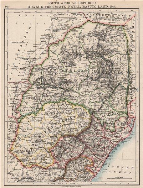 Associate Product COLONIAL SOUTH AFRICA. Orange Free State Natal Basutoland SA Republic 1897 map
