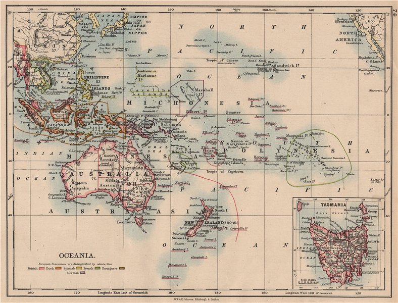 Associate Product COLONIAL OCEANIA PACIFIC.British Dutch Spanish French German Port. 1897 map