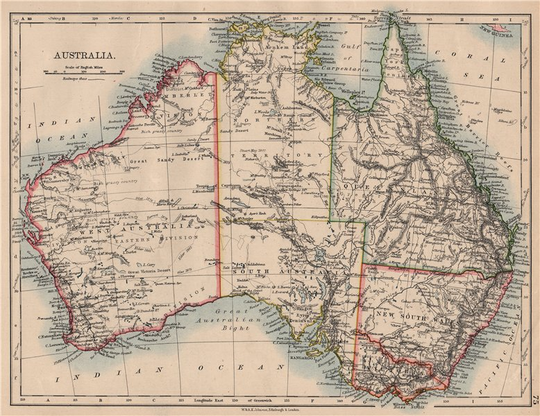 Associate Product AUSTRALIA. States. Showing Northern Territory within SA. JOHNSTON 1897 old map