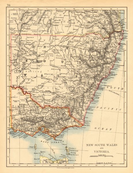 Associate Product NEW SOUTH WALES & VICTORIA. Shows railways telegraph cables.Australia 1897 map