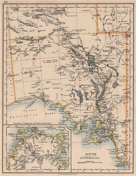 Associate Product SOUTH AUSTRALIA.Explorers routes Sturt Giles Elder Forrest Tictkins 1897 map