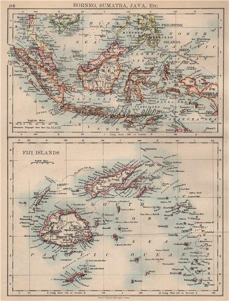 Associate Product INDONESIA & FIJI. Sunda Islands.Borneo Java Sumatra. Viti/Vanua Levu 1897 map
