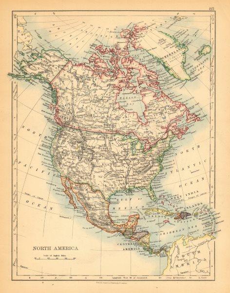 "Associate Product NORTH AMERICA POLITICAL. Greenland ""Danish America"" USA Canada Mexico 1897 map"