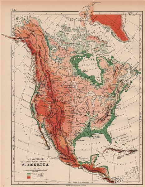 Associate Product NORTH AMERICA PHYSICAL. Relief. Key mountains heights. Ocean depths  1897 map