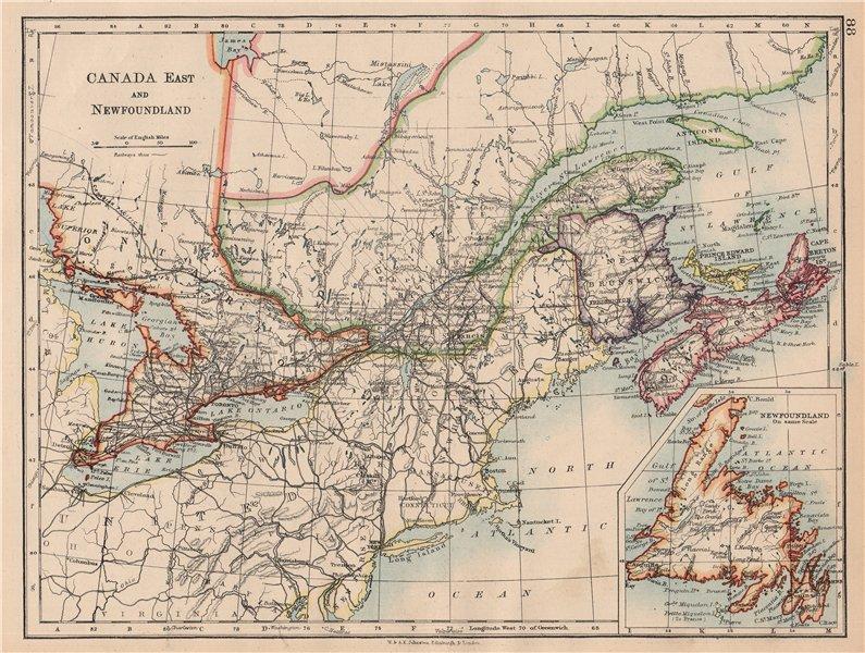 Associate Product EASTERN CANADA. Ontario Quebec Maritime Provinces NB PE NS. JOHNSTON 1897 map