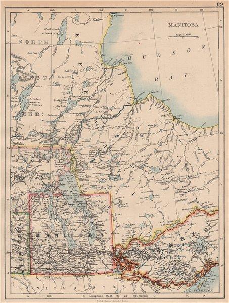 Associate Product MANITOBA. Winnipeg Canadian Pacific Railroad Keewatin Canada.JOHNSTON 1897 map