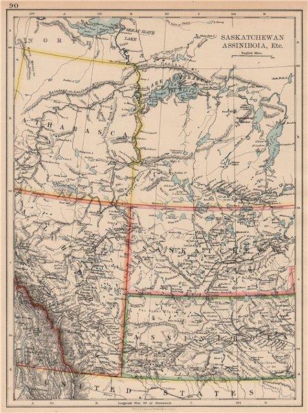 Associate Product CANADA PRAIRIES. Alberta Saskatchewan Assiniboia Athabasca. JOHNSTON 1897 map