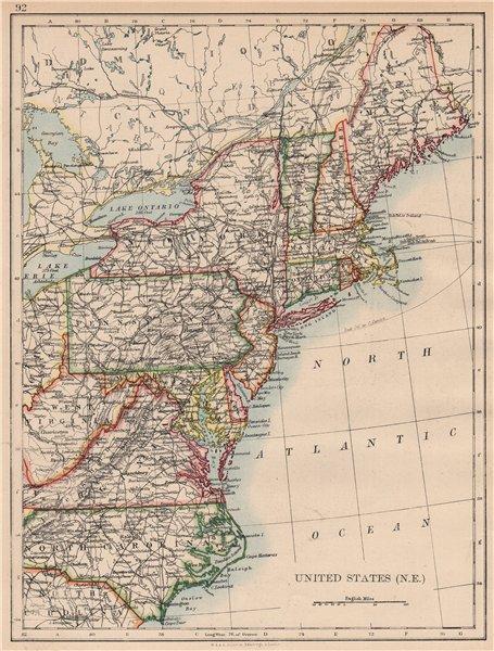 Associate Product UNITED STATES NORTH EAST. New England Appalachia Atlantic states. USA 1897 map