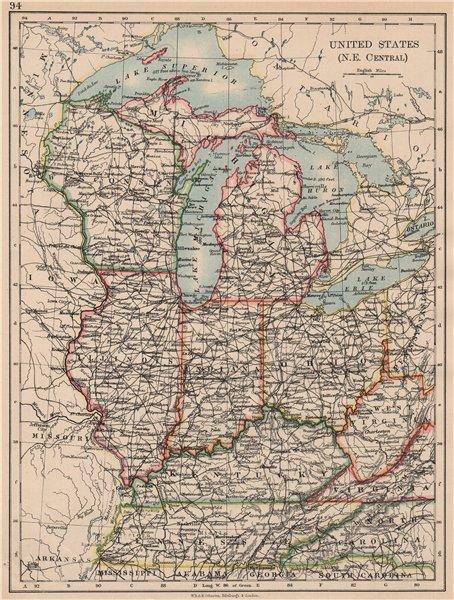 Associate Product USA MID WEST. Wisconsin Michigan Illinois Ohio Indiana Kentucky TN 1897 map