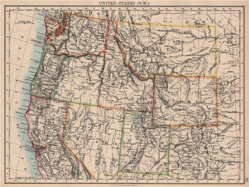 Associate Product USA NORTH WEST. Washington Oregon ID MT WY Utah Nevada CA.JOHNSTON 1897 map