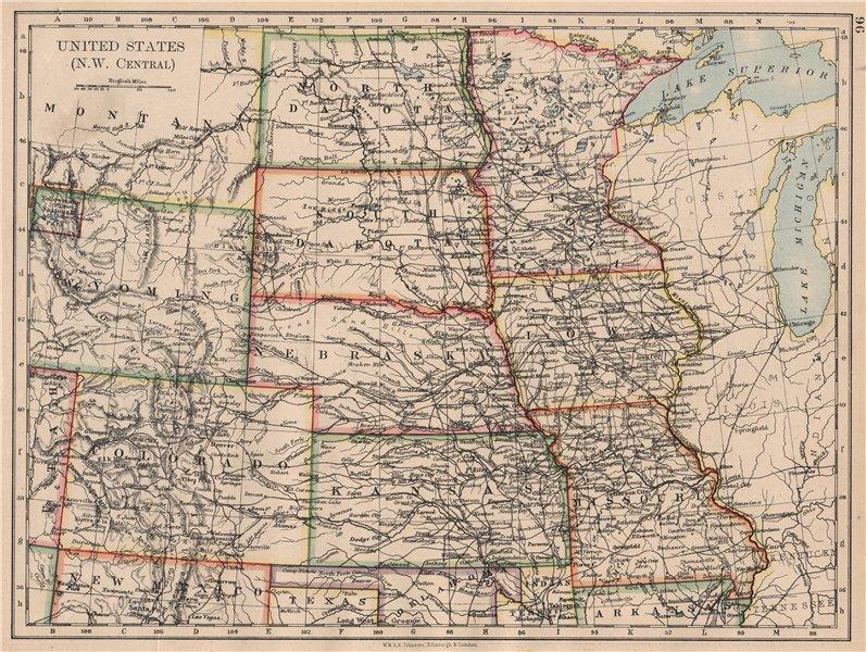 Associate Product USA PLAINS STATES. Iowa Minnesota Kansas NE ND SD Colorado. JOHNSTON 1897 map