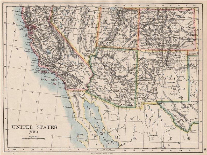 Associate Product USA SOUTH WEST. California Arizona NM Colorado Utah Nevada. JOHNSTON 1897 map
