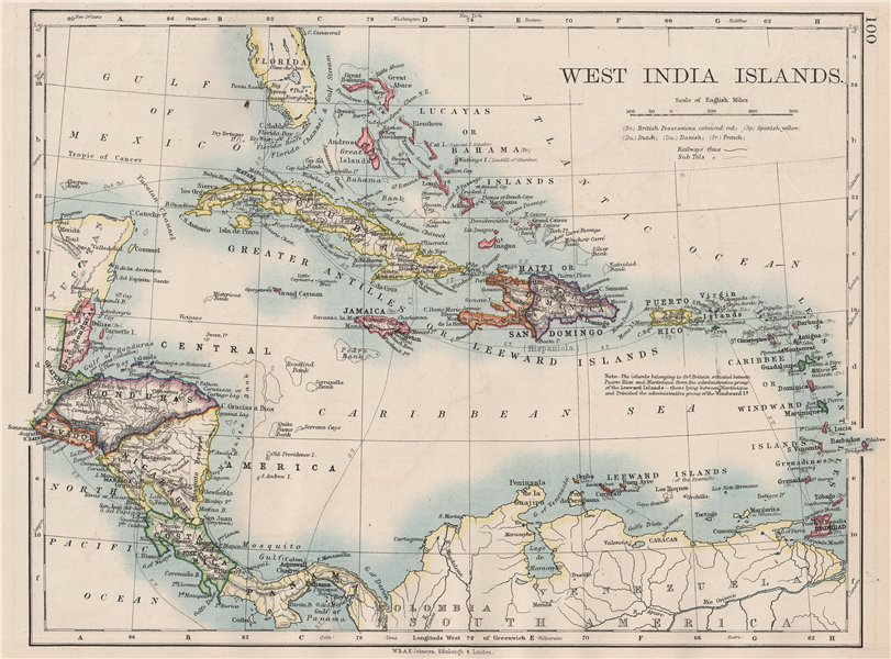 Associate Product WEST INDIA ISLANDS. Caribbean Lucayas Caribbee Cuba. JOHNSTON 1897 old map