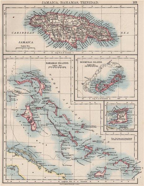 Associate Product CARIBBEAN/ATLANTIC ISLANDS.Jamaica Bermuda Bahamas Trinidad. JOHNSTON 1897 map