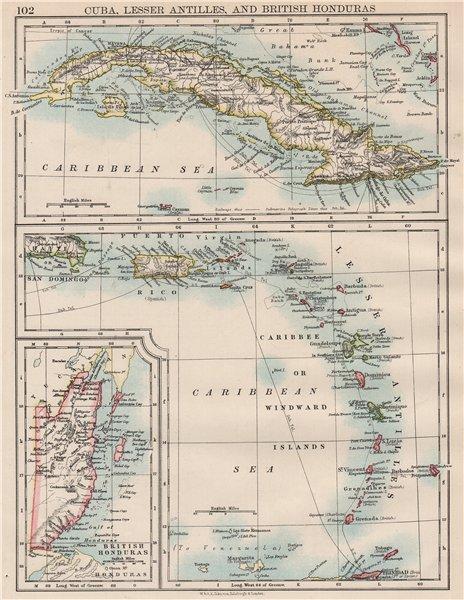 Associate Product CARIBBEAN ISLANDS.Cuba British Honduras Caribbee/Windward. JOHNSTON 1897 map