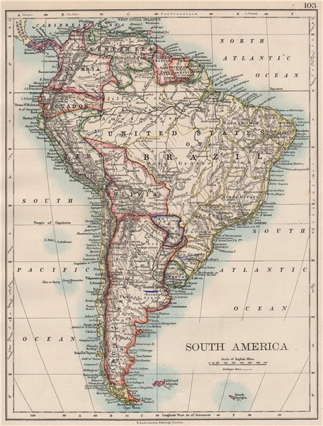 Associate Product SOUTH AMERICA. Bolivia includes Acre, now in Brazil. JOHNSTON 1897 old map