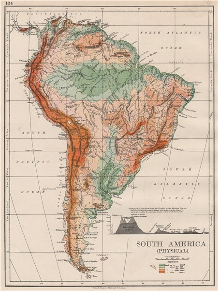 Associate Product SOUTH AMERICA PHYSICAL. Inset West-East cross section. JOHNSTON 1897 old map