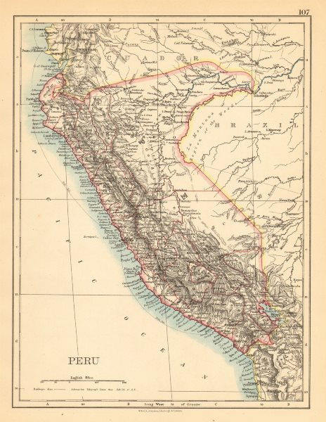 Associate Product PERU. Border as before Peru-Ecuador war (1941). JOHNSTON 1897 old antique map