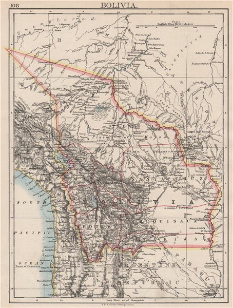 Associate Product BOLIVIA. includes Acre, lost to Brazil in 1899-1903 war. JOHNSTON 1897 old map