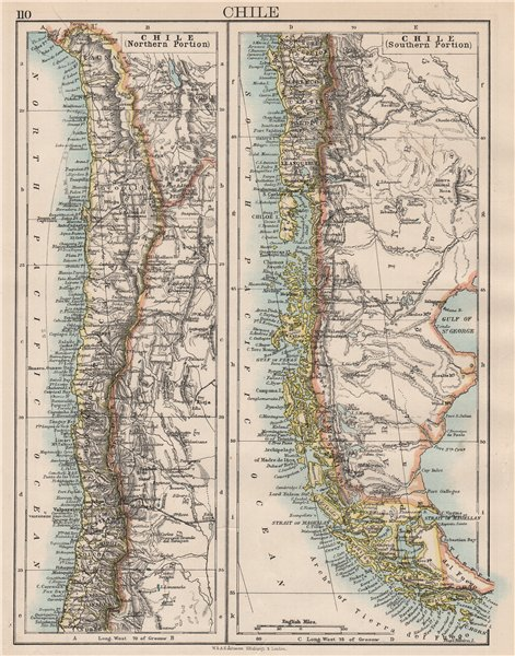 Associate Product CHILE. Patagonia Cape Horn Tierra del Fuego.Steamship routes.JOHNSTON 1897 map