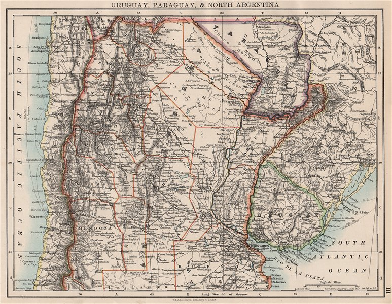 Associate Product URUGUAY PARAGUAY NORTH ARGENTINA. River Plate States Chile. JOHNSTON 1897 map
