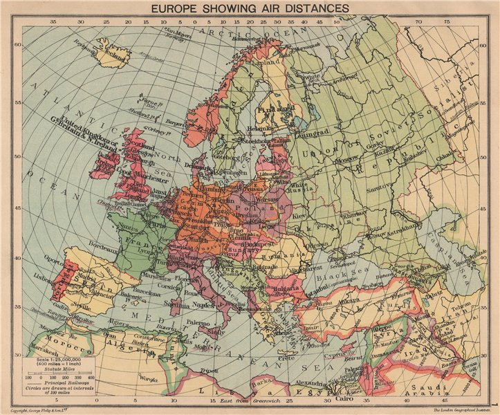 Associate Product WORLD WAR 2. Europe showing air distances. Occupied Poland 1940 old map