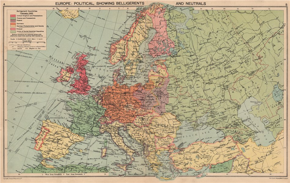 Associate Product EUROPE 1940. WW2. Belligerents/Neutrals Occupied Poland/Finland Albania 1940 map