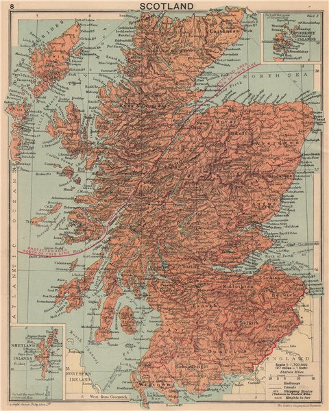 Associate Product WORLD WAR 2. Scotland 1940. Shows aliens protected area in Highlands 1940 map