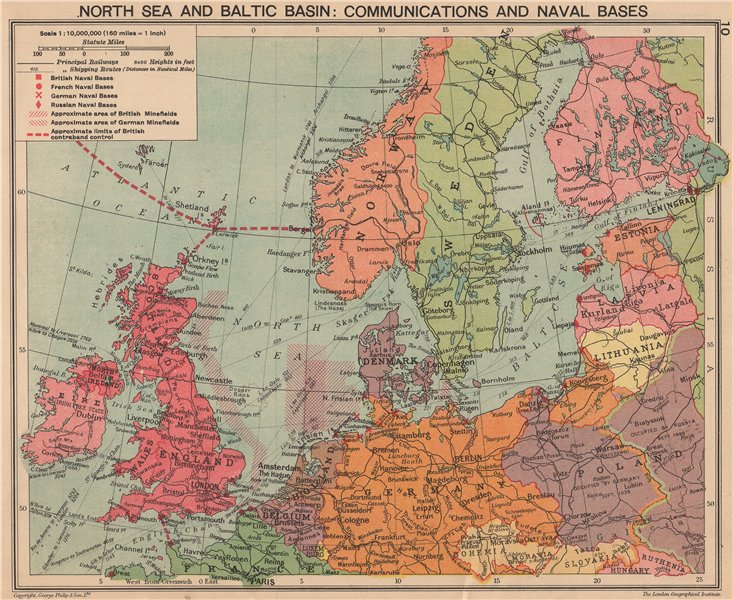 Associate Product SECOND WORLD WAR. Baltic & North sea. Minefields & Naval Bases. Poland 1940 map