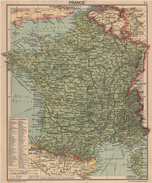 Associate Product SECOND WORLD WAR. France in 1940. Pre- German invasion 1940 old vintage map