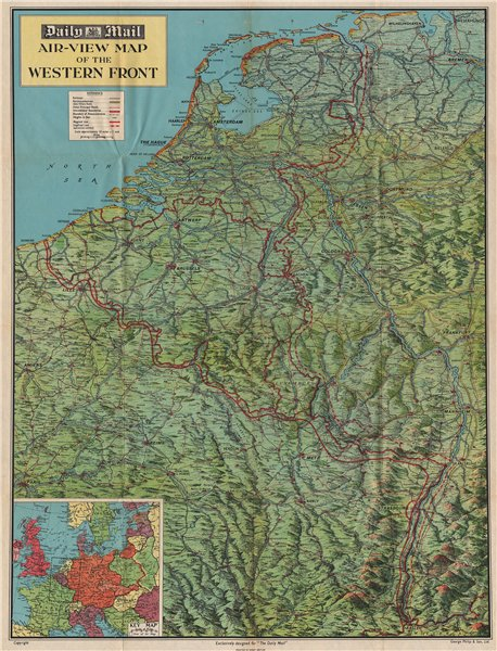 Associate Product WW2 'WESTERN FRONT' in 1940. Bird's eye view before invasion of France 1940 map