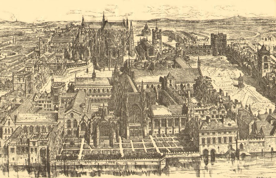 Associate Product MEDIEVAL LONDON. Westminster (from the east). Abbey. St Stephen's Chapel 1923