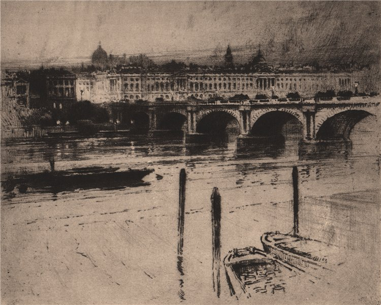 """Associate Product DISAPPEARING LONDON. The old """"Waterloo Bridge"""", by Percy Robertson 1927 print"""