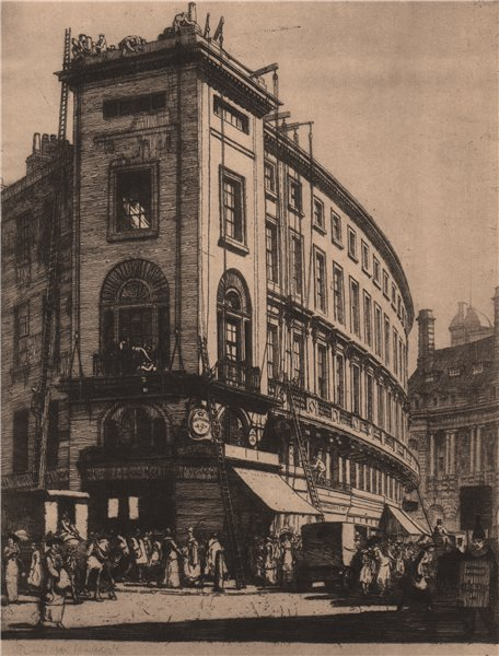 """Associate Product DISAPPEARING LONDON. """"The Quadrant"""", by Randolph Schwabe. Regent Street 1927"""