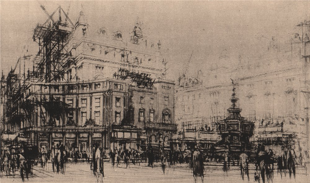 """Associate Product DISAPPEARING LONDON. """"Piccadilly Circus"""", by William Walcot 1927 old print"""