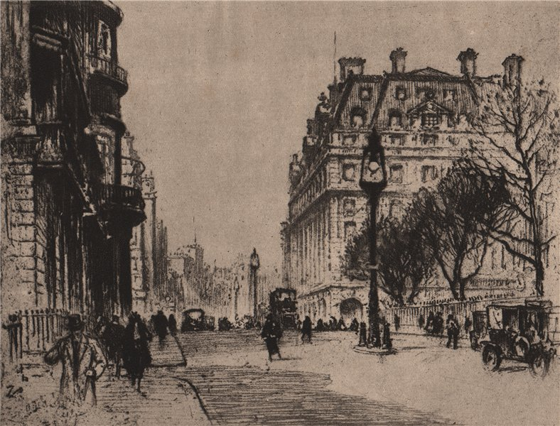 """Associate Product DISAPPEARING LONDON. """"Piccadilly"""", by Percy Robertson 1927 old vintage print"""