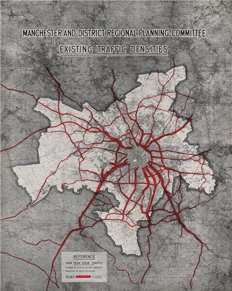 Associate Product MANCHESTER PLAN 1945. Existing Traffic Densities (1938 peak hour) 1945 old map
