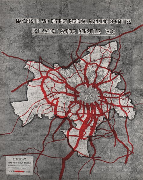Associate Product MANCHESTER PLAN 1945. Forecast Traffic Densities (1970 peak hour) 1945 old map