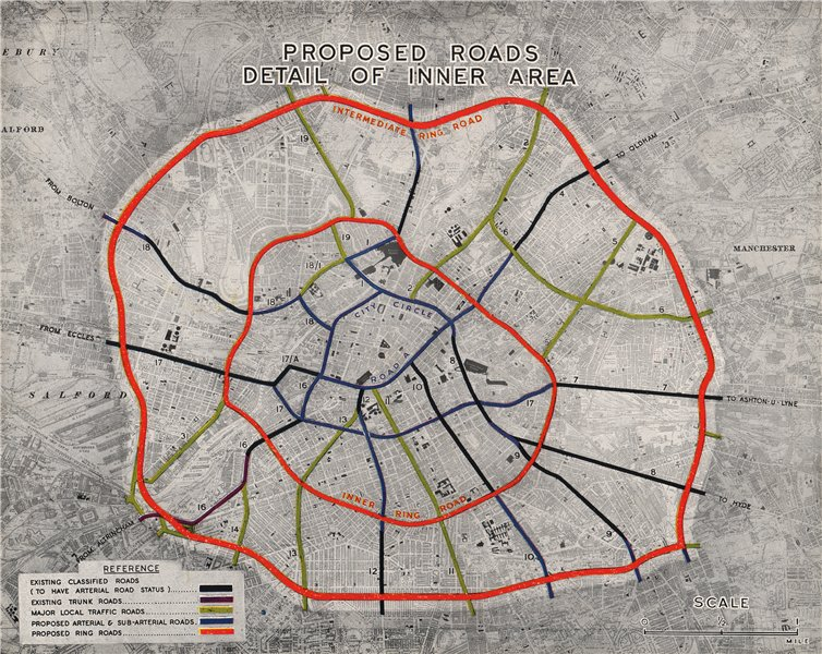 Associate Product MANCHESTER PLAN 1945. Proposed Roads Inner Area. Ring arterial roads 1945 map