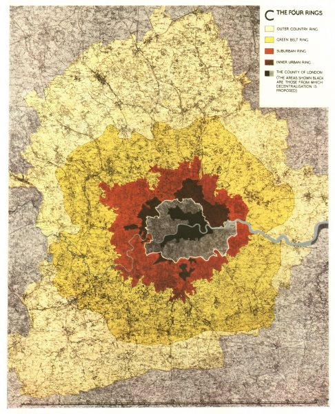 Associate Product GREATER LONDON PLAN. Four Rings. Green belt sub/urban. ABERCROMBIE 1944 map
