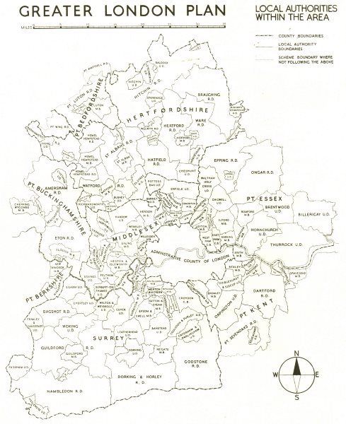 GREATER LONDON PLAN. Local authorities within the area. ABERCROMBIE 1944 map